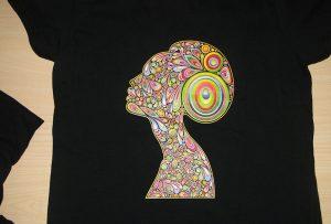 ຕົວຢ່າງການພິມເສື້ອທີເຊີດສີດໍາໂດຍເຄື່ອງພິມ T-shirt A2 WER-D4880T