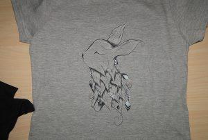 ຕົວຢ່າງການພິມເສື້ອຢືດສີຂີ້ເຖົ່າໂດຍເຄື່ອງພິມ T-shirt A2 WER-D4880T